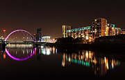 Night Scene Prints - Glasgow River Clyde Print by Grant Glendinning