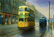Wet Framed Prints - Glasgow tram. Framed Print by Mike  Jeffries