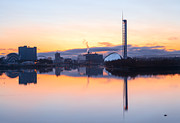 River Clyde Glasgow Framed Prints - Glasgow waterfront at Dawn Boxing day Framed Print by John Farnan