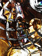 Cut Glass Prints - Glass Abstract 448 Print by Sarah Loft
