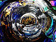 Glass Bowl Posters - Glass Abstract 492 Poster by Sarah Loft