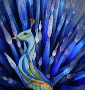 Watercolor  Glass Art Posters - Glass Art Peacock Poster by Ruta Naujokiene