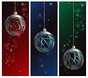 Ribbon Framed Prints - Glass bauble banners Framed Print by Jane Rix