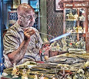 Arnie Goldstein Prints - Glass Blower Print by Arnie Goldstein