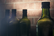 Dine Prints - Glass Bottles Brick Wall. Print by Tim Braunlin