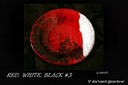 Red Glass Art Originals - Glass Bowl in Red and White and Black by P Russell