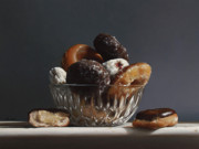 Realist Paintings - Glass Bowl Of Donuts by Larry Preston