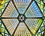 Statigram Prints - Glass Ceiling Dome in Paris Court - Budapest - Hungary Print by Marianna Mills