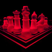 Chess Posters - Glass Chess Set 2813 Poster by Wesley VanDinter