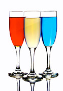 Wine Glasses Posters - Glass cups and colorful drinking liquid art Poster by Paul Ge