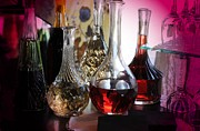 Decanters Photo Prints - Glass Decanters Print by Kathleen Struckle