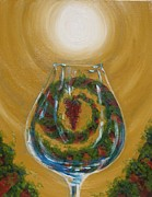 Canvas Wine Prints Prints - Glass Full of the Valley Print by Valerie Greene