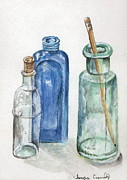 Glass Drawings Originals - Glass Jars by Tamyra Crossley