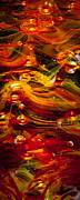 Contemporary Digital Art Photo Posters - Glass Macro Abstract - Molten Fire Poster by David Patterson