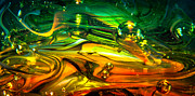Bright Colors Metal Prints - Glass Macro Abstract RGO1CE2 Metal Print by David Patterson