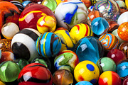 Toys Prints - Glass marbles Print by Garry Gay