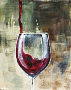 Pouring Wine Painting Prints - Glass Of Pouring Red Print by Lisa Owen-Lynch