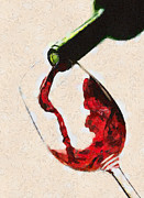 Pouring Wine Painting Prints - Glass of red wine Print by Georgi Dimitrov