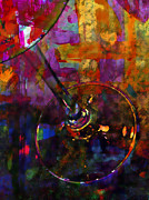 Culinary Mixed Media Metal Prints - Glass of Shiraz Metal Print by Bob RL Evans