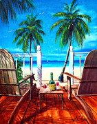 Wine Canvas Paintings - Glass Of Wine At The Beach by Earl Butch Curtis