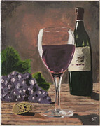 Red Wine Bottle Posters - Glass of Wine Poster by Sue Tasker