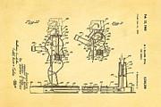 Glass Rock Em Sock Em Robots Toy Patent Art 3 1966 Print by Ian Monk