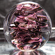 Bubbles Glass Art - Glass Sculpture Black and Pink RBP by David Patterson