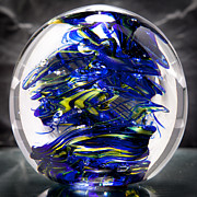 Waves Glass Art - Glass Sculpture Cobalt Blue and Yellow - 13R2 by David Patterson