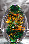 Green Glass Art - Glass Sculpture GO1  by David Patterson