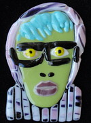 Portraits Glass Art Prints - Glass Terry Print by Gila Rayberg