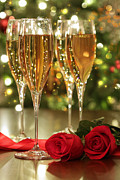 Bubbly Prints - Glasses of champagne and red roses  Print by Sandra Cunningham