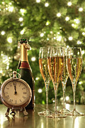 Bubbly Prints - Glasses of champagne for New Years Print by Sandra Cunningham