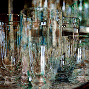 Paint Photograph Art - Glassware Behind the Bar by Karen  Burns