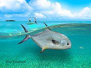 Bonefish Drawings Prints - Glassy Day Permit Print by Alex Suescun