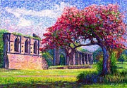 Trees Blossom Paintings - Glastonbury Abbey Blossom by Jane Small