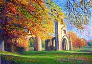 King Arthur Paintings - Glastonbury Abbey Fall by Jane Small