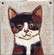 Tiles Pyrography Posters - Glaze cat Poster by Wilfried Tebling