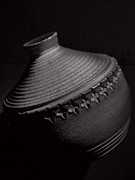 Hand Made Glass Art - Glazed-black And White by Tom Druin