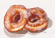 Warm Colors Painting Prints - Glazed Donuts Print by Debi Pople