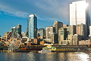 Seattle Waterfront Prints - Gleam Print by Justin  Curry