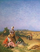 Rural Scene Painting Framed Prints - Gleaning Framed Print by George Elgar Hicks