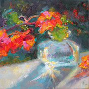 Talya Painting Posters - Gleaning Light Nasturtium Still Life Poster by Talya Johnson