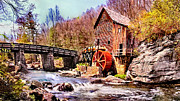 Stream Digital Art Originals - Glen Creek Grist Mill Painting by Nadine and Bob Johnston