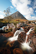 Etive Mor Framed Prints - Glen Etive mountain waterfall Framed Print by Grant Glendinning