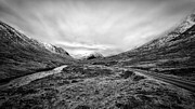 Glen Coe Prints - Glen Etive road and river Print by John Farnan