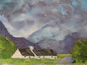Grey Clouds Pastels - Glencoe Scotland Black Rock Cottage by Thea David