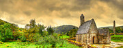 Country Scenes Prints - Glendalough Tower and St Kevins Church Print by Kim Shatwell-Irishphotographer