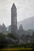 Gloomy Framed Prints - Glendalough Tower. Ireland Framed Print by Jenny Rainbow