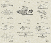 Technical Art Drawings Prints - Glenn Curtiss Aircraft Patent Collection Print by PatentsAsArt