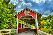 Wooden Bridges Photos - Glessner Covered Bridge by Adam Jewell